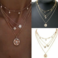 Women Boho Multilayer Gold Choker Star Crystal Chain Pendant Necklace Jewelry