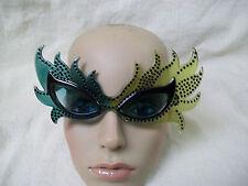 Green Feather Mask Glasses Mardi Gras Carnival Ursula Villain Toxic Poison Ivy