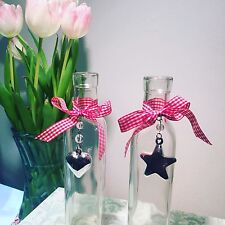 2 x Glass Shabby Chic Bottles Gingham Ribbon with Heart & Star Charm 81-7126