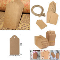 100pcs Blank Paper Wedding Kraft Tags Brown Strings Gift Label Luggage Scallop