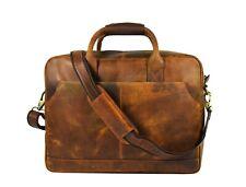 """Vintage Leather Briefcase Messenger Bag Mens 15"""" Laptop Satchel Office Shoulder"""