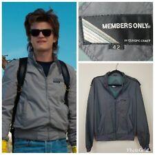 VTG 80s SZ 42 Medium Members Only Windbreaker Jacket Gray Steve Stranger Things