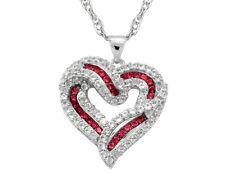 Созданный Рубин и белый сапфир сердце кулон в стерлингового серебра с цепочкой