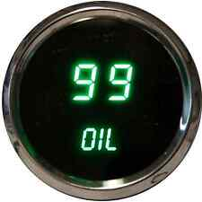 3 DIGITAL GAUGE SET GREEN LEDs Volt Temp Celsius Oil P  Chrome Custom