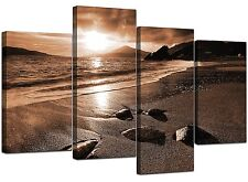Large Brown Sepia Beach Canvas Wall Art Pictures 130cm Prints XL 4076
