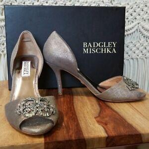 EUC Badgley Mischka Salsa Peep Toe Heels Metallic Size 7
