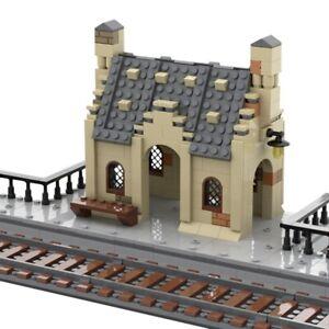 Train Bricks Station Street view Model House Building Blocks Bricks Assembly Toy