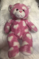 "Build a Bear Plush 17"" Pink White Hearts Teddy Bear"