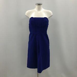 Comptoir Des Cotonniers Shift Dress EU40 UK12 Short Blue Strapless Plain 202095