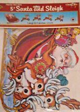 VINTAGE 1978 Beistle 22130 5 Ft. Santa & Sleigh Reindeer 5 pc. Packaged Cutouts