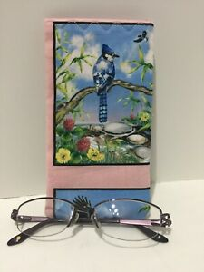BLUE BIRDS HUMMINGBIRDCLOTH EYE GLASS SUNGLASSES CASE HOLDER NEW HANDMADE