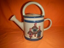 Heatherstone Ceramic Vintage Watering Can, Bird Houses, Blue and Tan