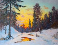 LARGE ORIGINAL RUSSIAN FOREST WINTER SNOWY SUNSET STREAM LANDSCAPE PAINTING ART
