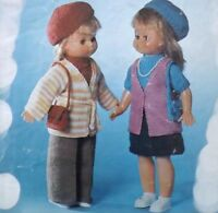 "Vintage Knitting Pattern for 18"" Doll Clothes Trousers Jumper Jacket Beret K588"