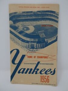 NEW YORK YANKEES 1956 Official Program and Score Card vs. Boston Red Sox