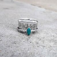 Turquoise Stone 925 Sterling Silver Spinner Ring Meditation,statement Ring Size