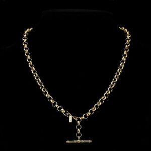 18K Yellow Gold GL Woman's Medium Solid Belcher Necklace with Antique T-Bar