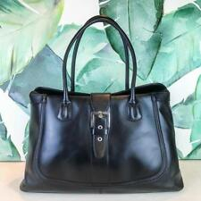$2200 TOD's Black Leather Tote Satchel Bag Buckle Large Rolled Strap Silver SALE