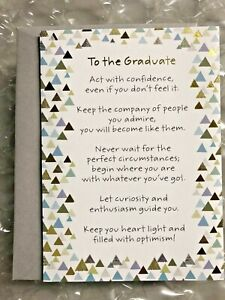 """GRADUATION CARD RECYCLED PAPER GREETING """"TO THE GRADUATE ACT WITH CONFIDENCE,.."""""""