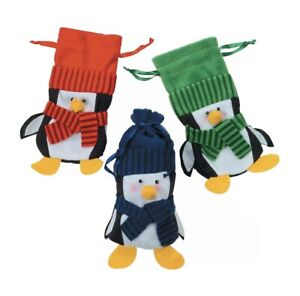 Penguin Drawstring Bags Large - Party Supplies - 9 Piece Set New