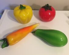 Set Of 4 Murano Blown Glass Vegetables Tomato Yellow Pepper Carrot Pepper