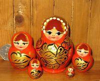 Nesting Russian Doll Matryoshka Babushka SMALL 5 ORANGE GOLD  BLACK Khokhloma