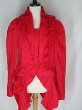 ASHRO Orange/Red Frock Coat Jacket 16 Ruffled Tucked Covered Buttons