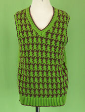 329 Strasburg boy green brown sleeveless vest houndstooth EUC 6-7