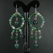 AU SELLER Chic Genuine Natural Moss Agate Handmade Silver Earrings 030476