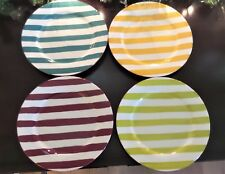 Costa Del Sol Colorful Striped Salad Plates x4 Green Red Orange Teal