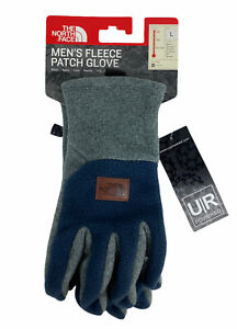 NEW The North Face Fleece Patch Winter Gloves UR Powered Gray Blue Mens Size L