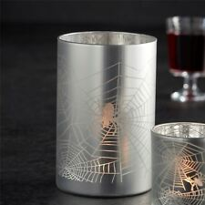 Halloween Spiders Web Silver Tea Light Candle Holder - Large