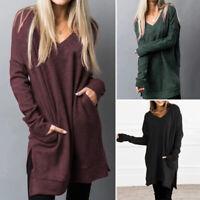 ZANZEA Women Long Sleeve V Neck Shirt Tops Casual Oversize Jumper Blouse Plus