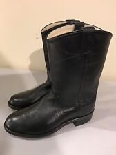 OLD WEST WOMEN'S BLACK LEATHER WESTERN COWGIRL BOOTS SZ 5!