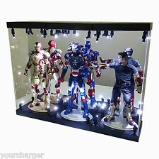"MB Acrylic Display Case LED Light Box for THREE 12"" 1/6th Scale IRON MAN Figure"