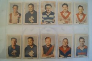 AFL-VFL 1949 Kornies Victorian Footballers Cards x 10 in Sleeve w/some issues