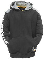 Caterpillar C1910802 Logo Panel Hooded Sweatshirt Workwear in Black Size UK XL