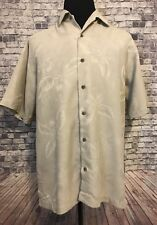 Mens Tommy Bahama Large Short Sleeve Tan Floral Casual Button Front