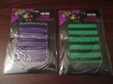 Ladies Stripy Halloween Stockings - Two Pairs One Size Purple and Green (NEW)