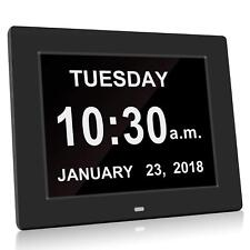 Big Digital Alarm Clock Large Day Date Calender LCD Display Dementia Memory Loss