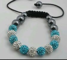 CRYSTAL BRACELET SHAMBALLA BLUE TEAL AND WHITE WEDDING PROM BIRTHDAY mum bridel