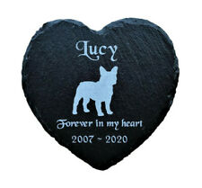 Personalised Slate Heart Dog Pet Memorial Grave Marker Plaque French Bulldog