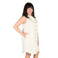 KAKTUS Loose Fit White Sleeveless Button up Knee Length Collared Dress-Size L