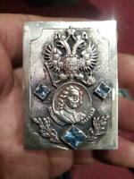 Peter I Antique Imperial Russian Sterling Silver 84 Matchstick Case Signed 39.5g