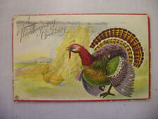 Vintage Embossed Thanksgiving Postcard Of A Colorful Turkey W/ Hay Stacks 1913