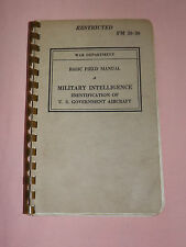 VINTAGE  BOOK 1941 WWII MILITARY INTELLIGENCE US ARMY ID OF AIRCRAFT