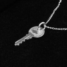 """3D My Heart's Key Charm Pendant REAL Solid 925 Sterling Silver with 18"""" Chain"""