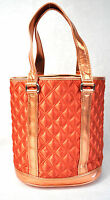 MARC JACOBS Quilted Satin Bucket Bag Tote Orange NEW
