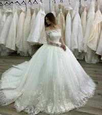 Wedding Dresses Bridal Ball Gowns Off Shoulder Appliques Lace Long Sleeves