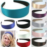 Women Plastic Headband SoildColor Wide Satin Hair Band Headwear Hair Accessories